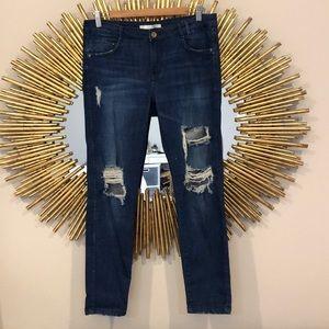 Zara Traufalic MidRise Ripped Boyfriend Jeans